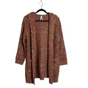 Dreamers by Debut Women's Open Front Rainbow Hooded Knit Cardigan